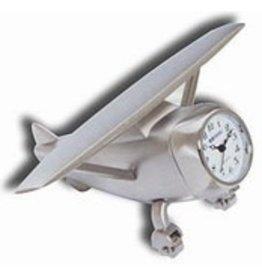 DESK CLOCK, HI-WING AIRPLANE, METAL, SILVER