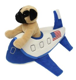 PUG PLUSH, BLUE AIRPLANE