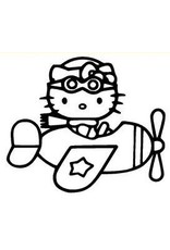 HELLO KITTY AIRPLANE Window Decal Sticker