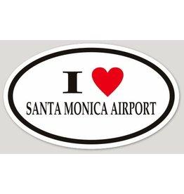 I LOVE SANTA MONICA AIRPORT OVAL STICKER