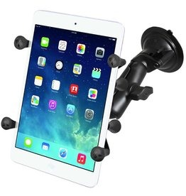 RAM TWIST LOCK SINGLE SUCTION CUP WITH LONG DOUBLE SOCKET ARM AND UNVIERSAL X-GRIP FOR iPAD MINI