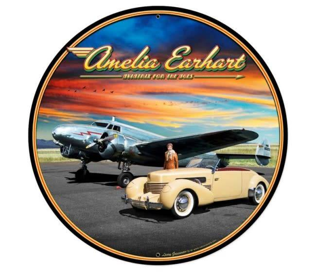 Amelia Earhart Round Metal Sign