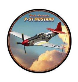 P-51 Mustang Round Metal Sign