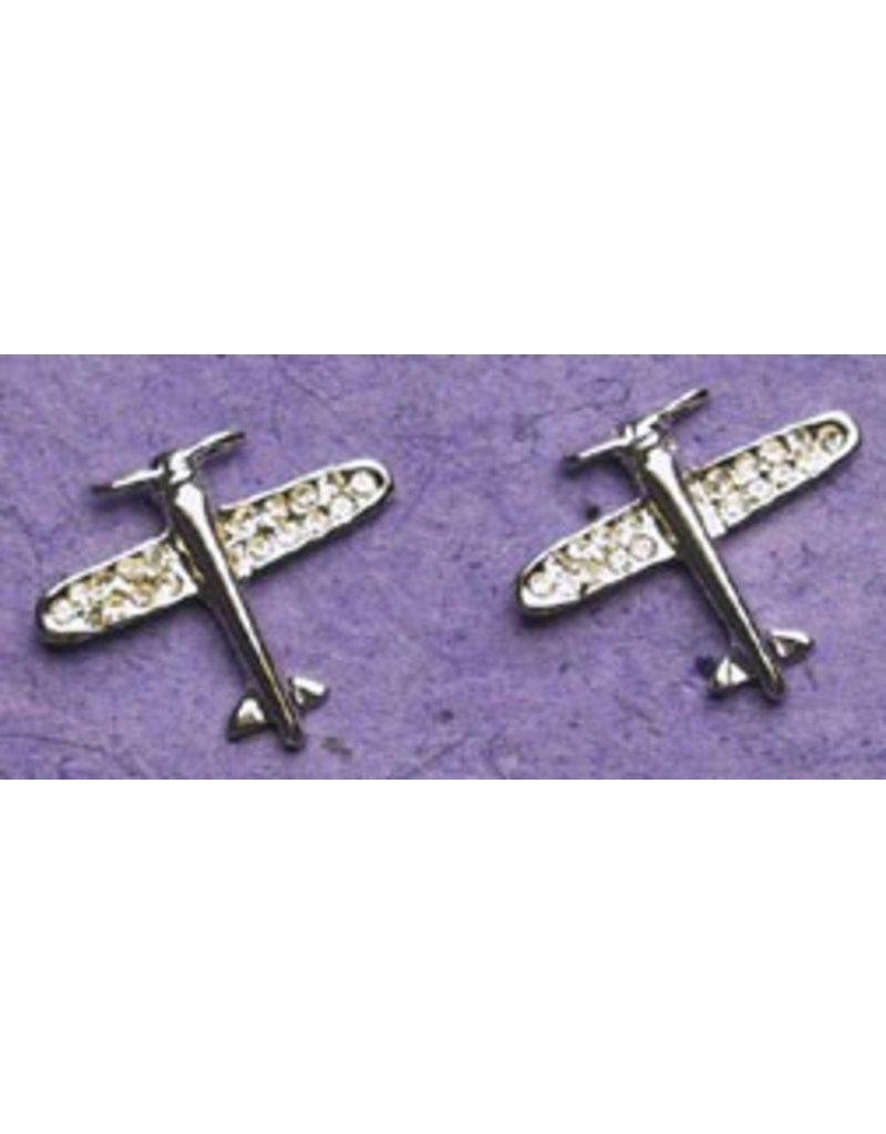 AIRPLANE Silver Crystal Earrings