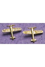 AIRPLANE Gold Crystal Earrings