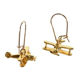 Gold Biplane Earrings