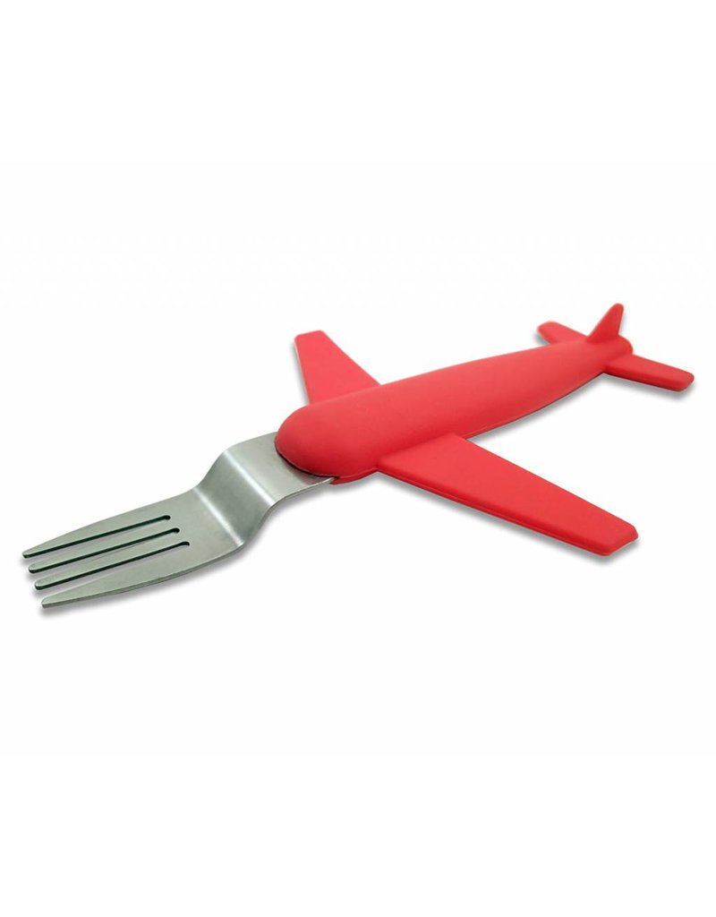 AIRPLANE FORK & SPOON SET, STAINLESS STEEL & SILICONE