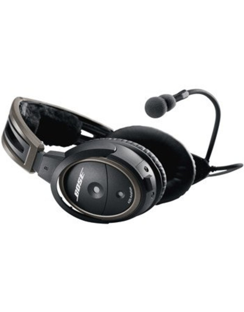 BOSE A20® Aviation Headset with Bluetooth, battery powered, electret microphone, U-174 plug, coiled cord