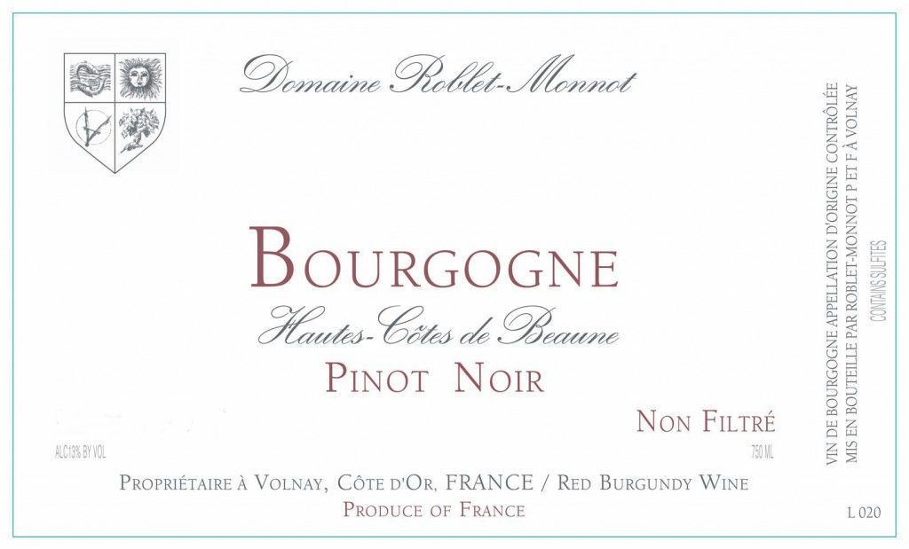 French Wine Domaine Roblet-Monnot Bourgogne Hautes Cotes de Beaune Rouge 2015 750ml
