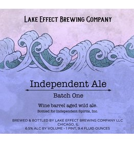 "Beer Lake Effect Brewing Company ""Independent Ale, Batch One"" Wine Barrel Aled Wild Ale Independent Spirits, Inc. Collaboration 750ml"