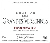 French Wine Chateau les Grande Versennes Bordeaux 2014 750ml