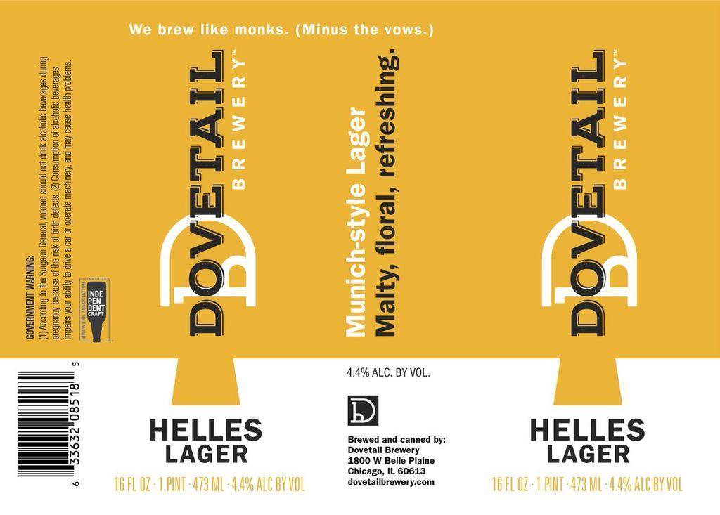 Beer Dovetail Helles Lager 16oz 4pk