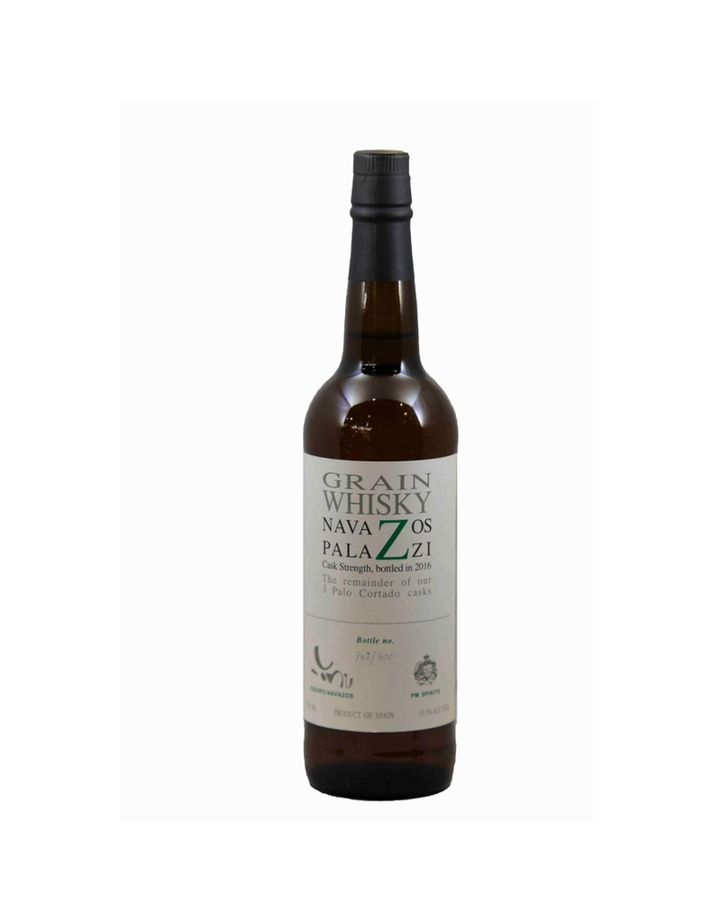 """Whiskey Navazos Palazzi Grain Whisky Cask Strength, bottled in 2016 """"The remainder of our 3 Palo cortado casks"""" 53.5% abv 750ml"""
