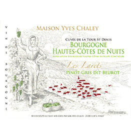 """French Wine Maison Yves Chaley <br /> Cuvee de la Tours Denis<br /> Bourgogne Hautes Cotes de Nuits<br /> """"Les Laret"""" Pinot Gris Dit Beurot<br /> 2016 750ml"""