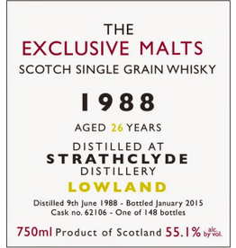 Scotch The Exclusive Malts Strathclyde 1988 26 Year Cask Strength 55.1% 750ml