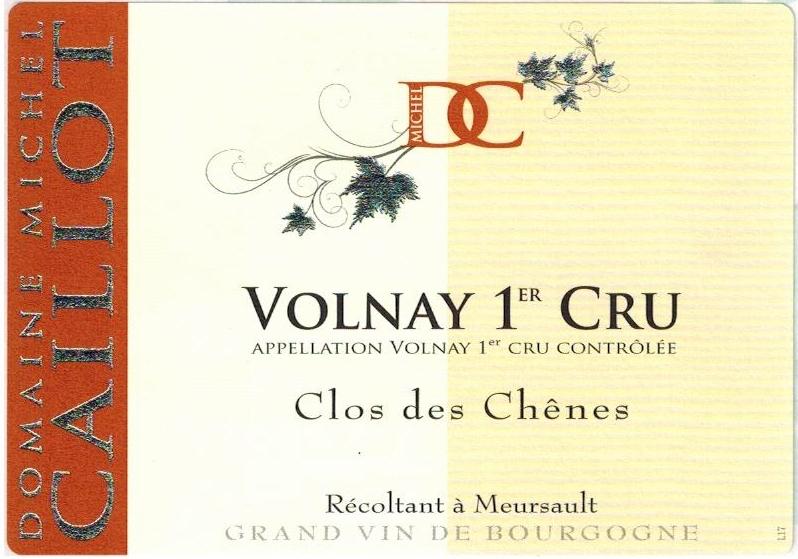 French Wine Domaine Michel Caillot Volnay 1er Cru Clos des Chénes 2010 750ml