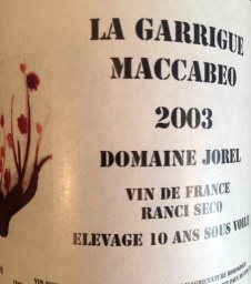 "Dessert Wine Domain Jorel ""La Garrigue Maccabeo"" Ranico Seco 2003 750ml"