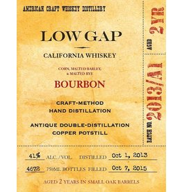 Bourbon Low Gap California Whiskey Bourbon 750ml