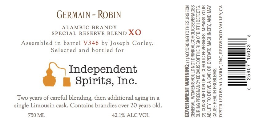 Brandy Germain-Robin XO Blend V346 Bottled Exclusively for Independent Spirits, Inc.