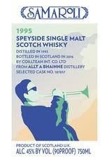 Scotch Samaroli Speyside Single Malt Scotch Whisky 1995, bottled in 2016 from selected cask No. 187857 (Allt A Bhainne Distillery) 750ml
