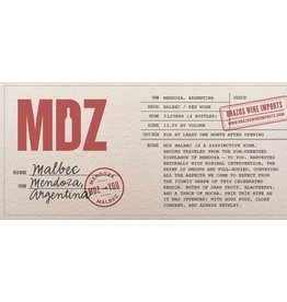South American Wine MDZ Malbec Mendoza Argentina 2018 750ml