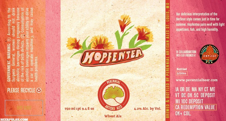 "Beer Perennial ""Hopfentea"" Berliner Weisse-Style Ale with Tropical Tea 750ml"