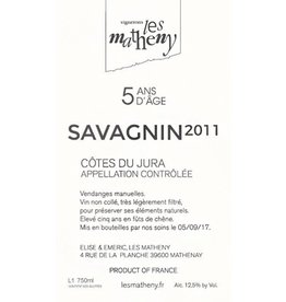 "French Wine Les Matheny ""5 Ans d'Age"" Savagnin Cotes du Jura 2011 750ml"