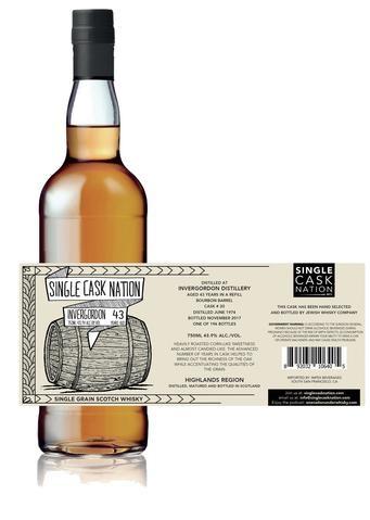 Scotch Single Cask Nation Invergordon 43 Year Single Grain Scotch Whisky Cask #20 196 bottles produced 750ml