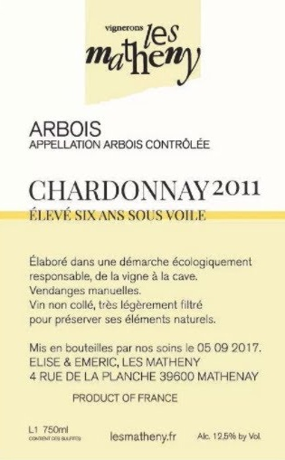 """French Wine Les Matheny Arbois Chardonnay """"Élevé six ans Sous Voile"""" 2011 750ml"""