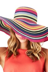 Twos Co Multicolored Straw Floppy Hat