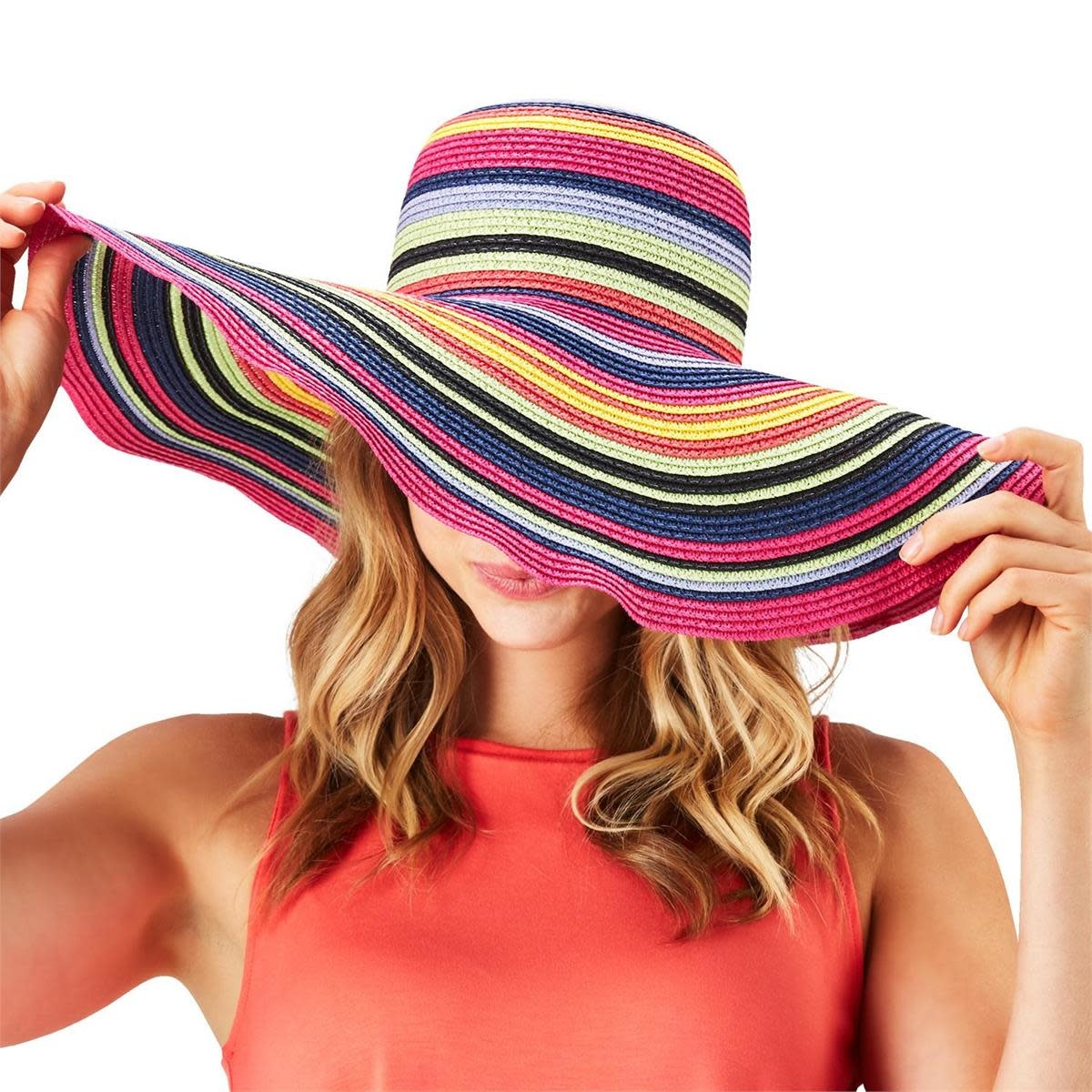 Twos Co Multicolored Straw Floppy Hat CLR