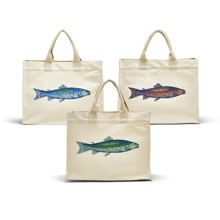 Twos Co Fish Tote Bag asst