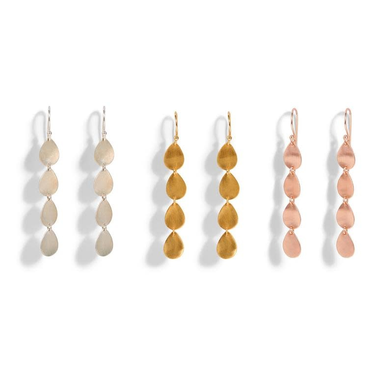 Twos Co Teardrop Linear Earrings asst