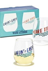 Twos Co Lake Life Acrylic Wine Glasses s/2