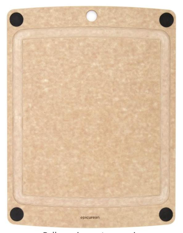 Epicurean Epicurean All-in-One Cutting Board with non-slip Black Feet, Natural, 14x11