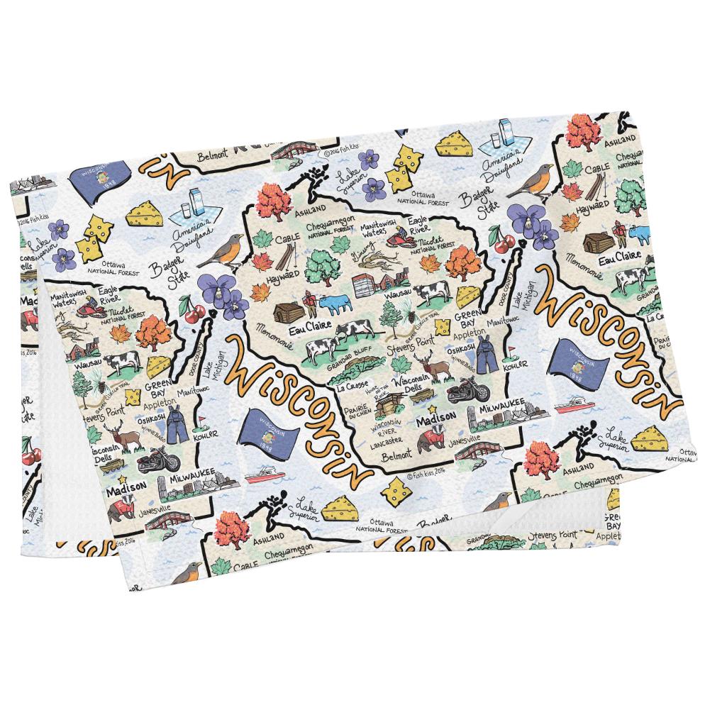 Fish-Kiss Wisconsin Towel