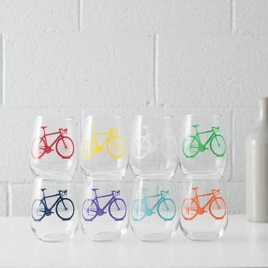 Vital Industries Bicycle Stemless Wine Glasses
