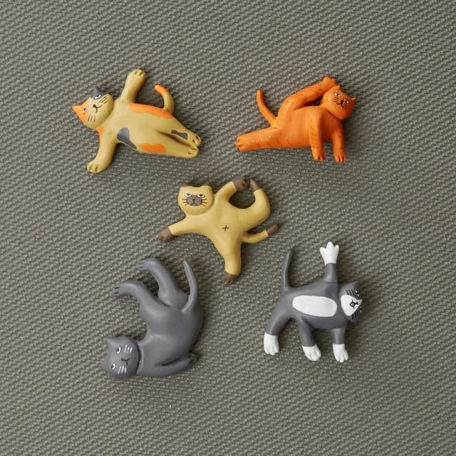 Kikkerland Cat Yoga Magnets set of 6
