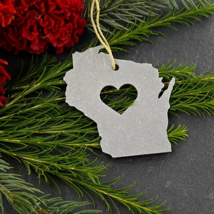 Iron Maid Art Steel Wisconsin Ornament with Heart