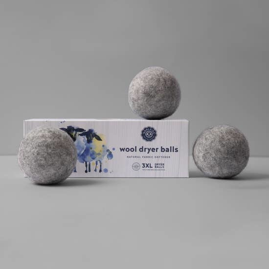 Woolzies: 3 Pure Wool Dryer Balls Grey