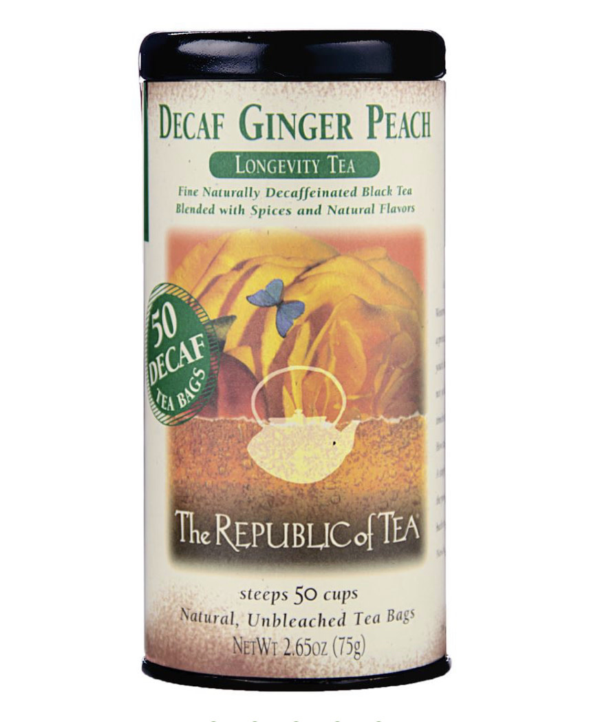 Republic of Tea Ginger Peach Decaf bag