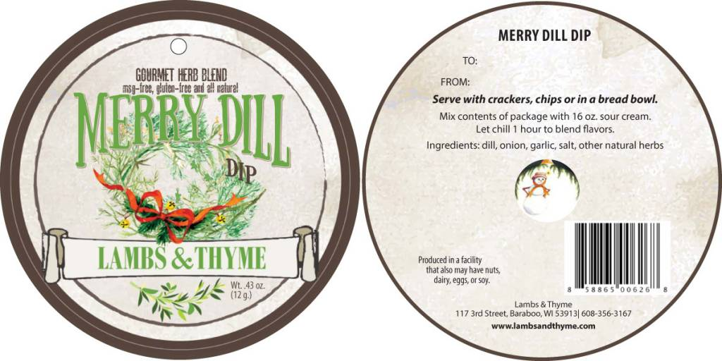 Lambs & Thyme Holiday Dips Merry Dill