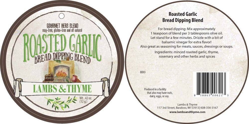 Lambs & Thyme Bread Dips Roasted Garlic
