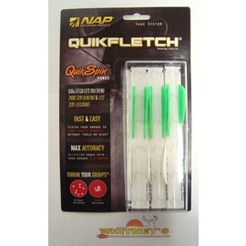 """New Archery Products (NAP) NAP Quikfletch Vane System Quick Spin Vanes 2"""" 6pk Green / White"""