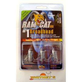 "Fulton Precision Archery LLC. Ram Cat Broadheads- 100 Grain Deep Six 1 3/8"" Dia. -by Smoke Broadheads"