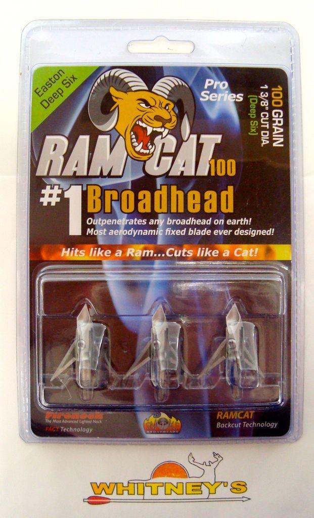 Fulton Precision Archery LLC  Ram Cat Broadheads- 100 Grain Deep Six 1 3/8