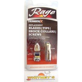 Rage Slip Cam Rage Crossbow Replacement Broadhead  Blades/ Tips /Shock Collars /Screws-R53005