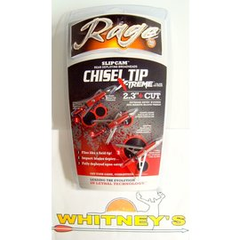 "Rage Slip Cam Rage 2 Blade Chisel Tip X-Treme Broadhead -2.3"" Cut/100 Grain"