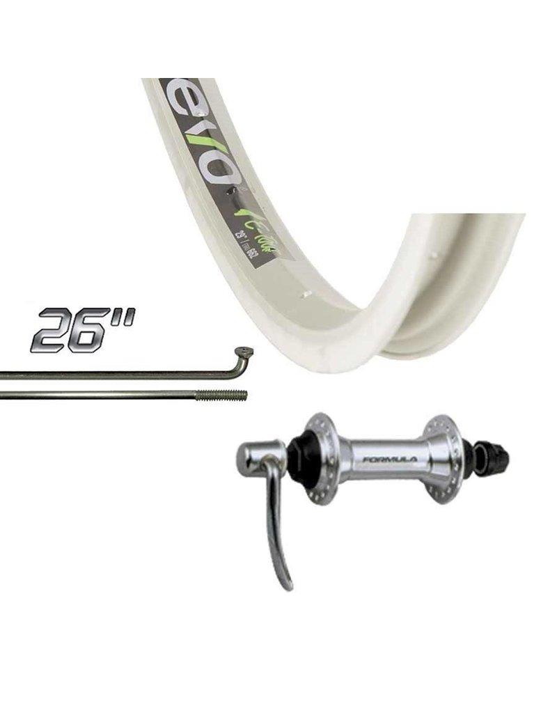 Wheel Shop, Front 26'' Wheel, Evo E-Tour 20 Silver / FM-21-FQR, 36 Steel Silver Spokes, QR