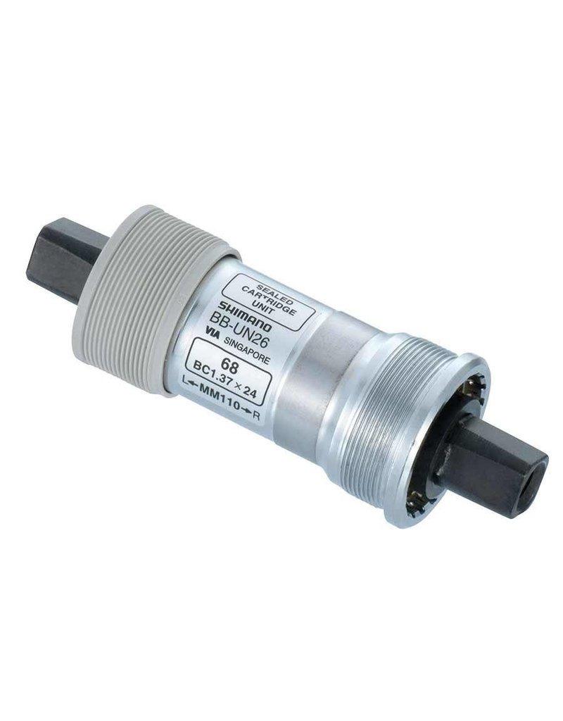 Shimano Shimano, EBBUN26B27B, BB-UN26, Square, BB Shell: 68mm, Axle: 127.5mm, Steel, Silver
